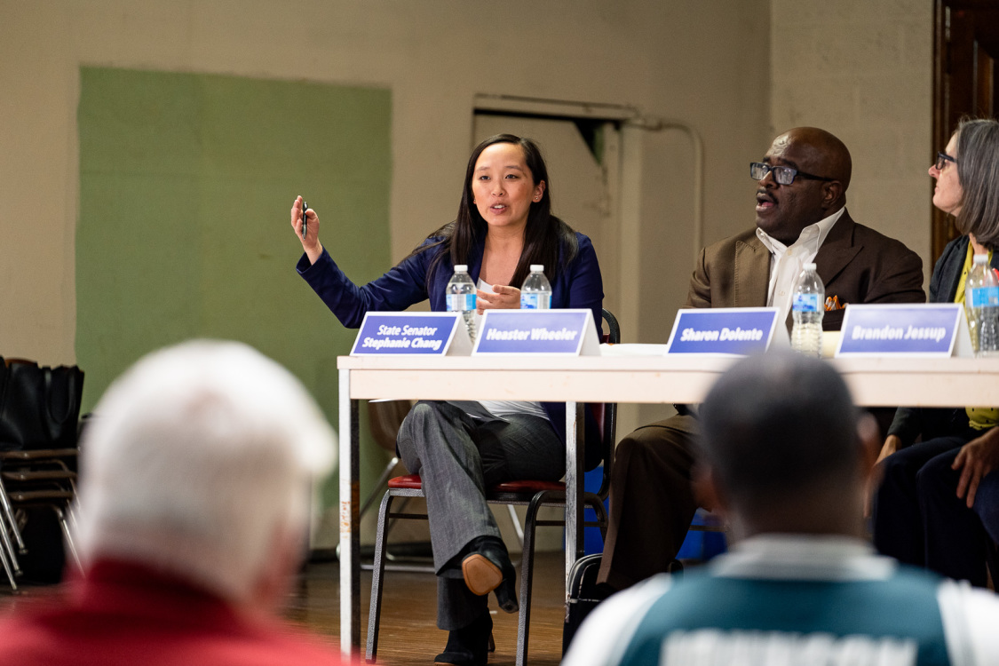 State Senator Stephanie Chang speaks at a Voting Rights and Elections Issues town hall