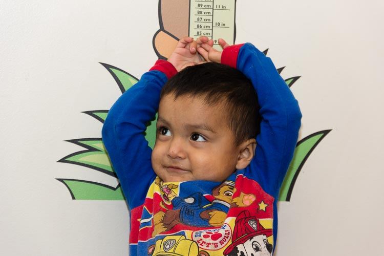 A young patient at Holy Family Healthcare.