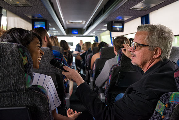 Mark Mothersbaugh on the Magical Myopia Bus Tour from Cleveland to Akron