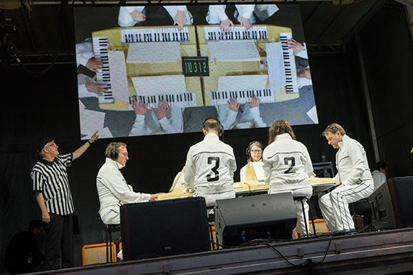Mark Mothersbaugh, left, and the Music For Six Sided Keyboard concert at MOCCA