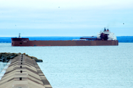 An ore carrier pushes into Marquette.