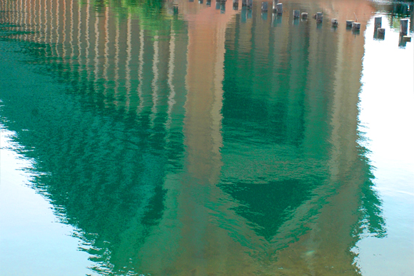 A reflection of the ore dock in Marquette's lower harbor.