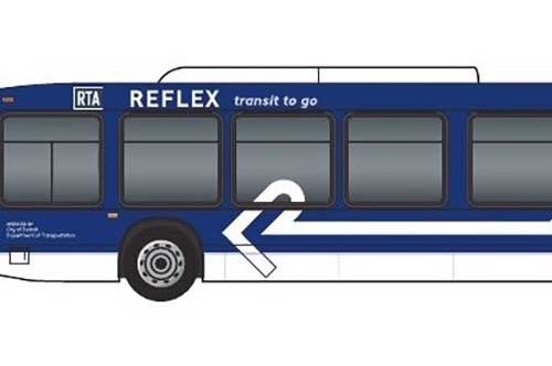 Rendering of the new refleX express bus service line.