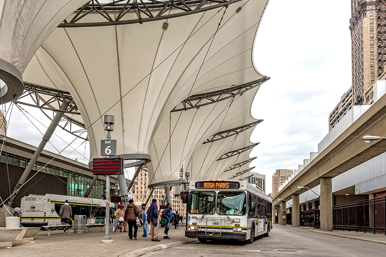 The Rosa Parks Transit Center in Detroit