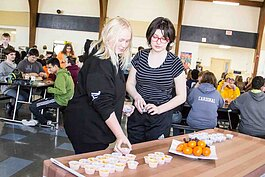 Ring Lardner Middle School students participate in a March Madness tasting event.