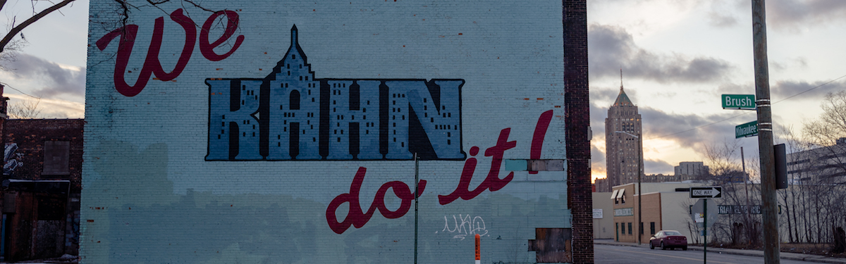 """We Kahn do it!"" mural in Milwaukee Junction"