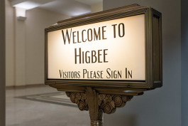 The original Higbee greeting sign in the lobby