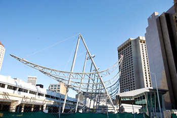 Canopies Going Up At 18 3m Rosa Parks Transit Center